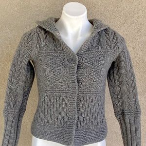 Kids Ash Gray Hand Knit Open Front Hooded Sweater